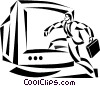 man walking into a computer monitor Vector Clipart picture