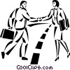 Vector Clip Art graphic  of a businessman and woman shaking