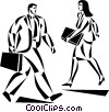 man and woman walking past each other Vector Clip Art image