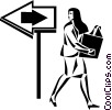 businesswoman walking with a file folder Vector Clip Art image