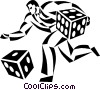 businessman rolling the dice Vector Clipart illustration