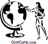 businesswoman looking at a large globe Vector Clipart illustration