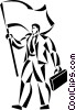 businessman with a flag Vector Clip Art picture