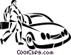 Vector Clipart graphic  of a businessman getting into his