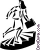 Vector Clipart graphic  of a businesswoman taking the