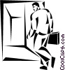 businessman walking through a doorway Vector Clip Art graphic