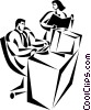 Vector Clipart image  of a businessman working at his