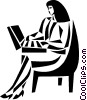 Vector Clip Art graphic  of a businesswoman working on her