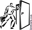 businessman walking through a door Vector Clipart illustration