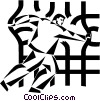Vector Clip Art graphic  of a businessman busting through a