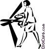 Vector Clipart graphic  of a businesswoman cutting a ribbon