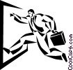 Vector Clipart graphic  of a running businessman