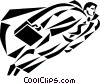 Vector Clip Art image  of a businessman hero flying