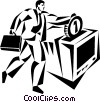 man dropping a coin into a computer Vector Clip Art graphic