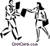 businessman and woman exchanging files Vector Clipart graphic