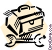 Vector Clip Art graphic  of a Toolboxes