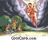Vector Clip Art image  of a Prometheus - steals fire for