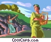 Orpheus plays his lyre Vector Clip Art picture
