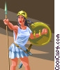 Vector Clip Art graphic  of an Athena - Goddess Of War and