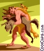 Vector Clip Art image  of a Heracles(Hercules) - wrestles