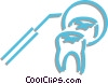 Vector Clipart graphic  of a tooth and a dentist mirror