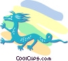 Vector Clip Art graphic  of an Asian dragon