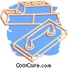 Vector Clip Art image  of a bricks and trowel