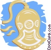 Vector Clip Art graphic  of a deep sea diving helmet