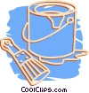 Vector Clip Art image  of a paint can and brush