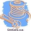 wrench and copper pipe Vector Clipart graphic