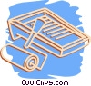 Vector Clip Art image  of a paint roller and tray