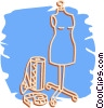 mannequin with fabric and a measuring tape Vector Clip Art picture