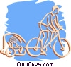 Vector Clip Art image  of a cyclist on a bike pulling a