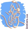 Vector Clipart graphic  of a cyclist with baby seat