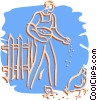 Vector Clip Art image  of a farmer feeding the chickens