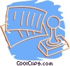 Vector Clipart graphic  of a rubber stamp with papers