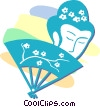 Vector Clipart illustration  of a hand fan and Asian face