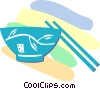 Vector Clipart graphic  of a bowl and chopsticks