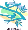 Vector Clipart image  of a birds sitting in a tree