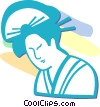 Vector Clip Art image  of an Asian woman