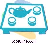 Vector Clipart picture  of a teapot and cups