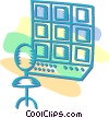 television control room Vector Clipart graphic