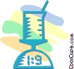 Vector Clipart illustration  of a science beaker on a scale