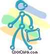 person walking holding a suitcase Vector Clipart graphic