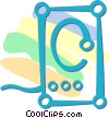Vector Clipart graphic  of a computer stereo speakers
