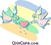 Vector Clip Art image  of a two cupids holding a heart