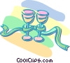 Vector Clipart image  of a wine glasses wrapped in a