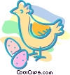 Vector Clip Art graphic  of a chicken with eggs