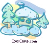 Vector Clip Art image  of a house in winter