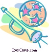 Vector Clip Art image  of a Christmas horn